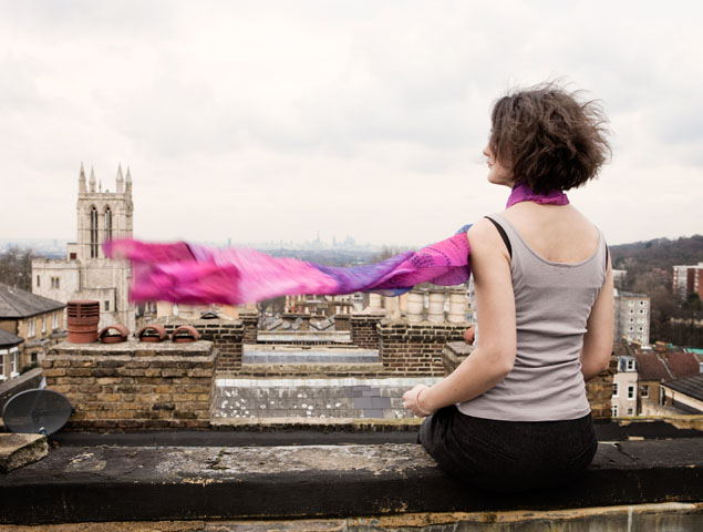 Scarf on model, rooftops